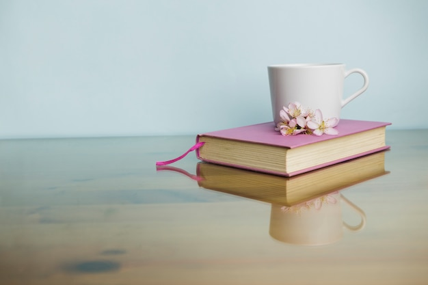 Still life with literature concept