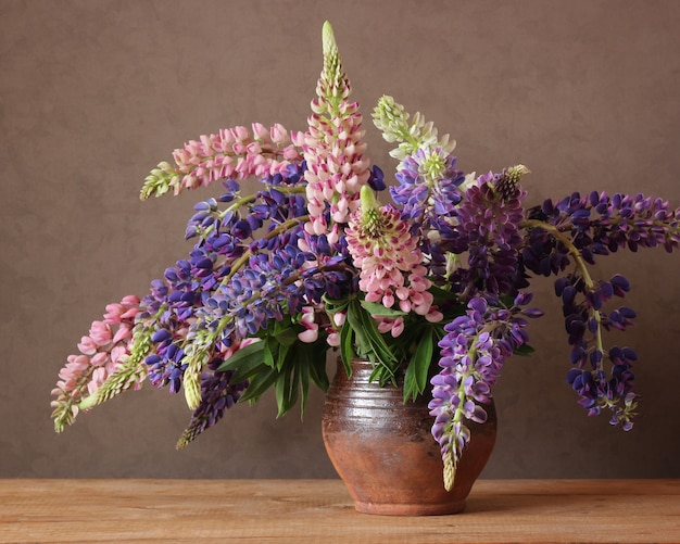 Still life with lupins.