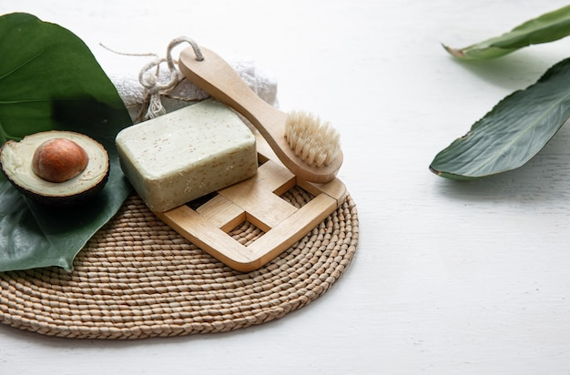 Still life with natural and organic body care products. health and beauty concept.