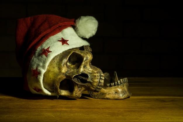 Still life with skull in christmas day, dark concept