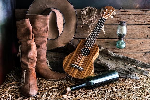 Still life with ukulele in barn studio