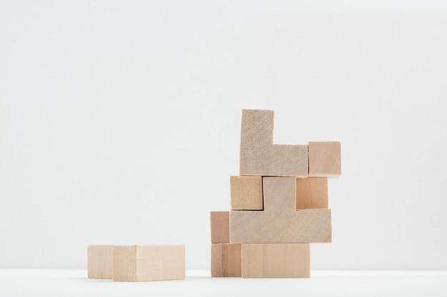 Still life of wooden bricks