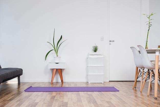 Still life of yoga room