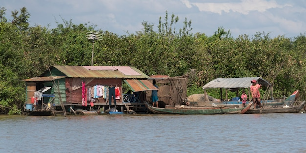 Stilt house on tonle sap lake, kampong phluk, siem reap, cambodia