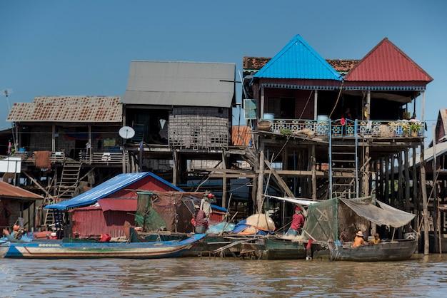 Stilt houses on tonle sap lake, kampong phluk, siem reap, cambodia