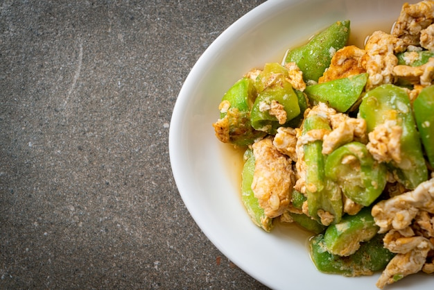 Stir fried angled gourd with egg - healthy food style