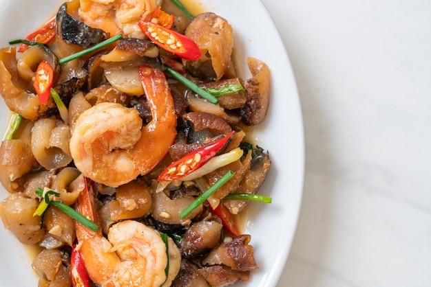 Stir-fried braised sea cucumber with shrimps, asian food style