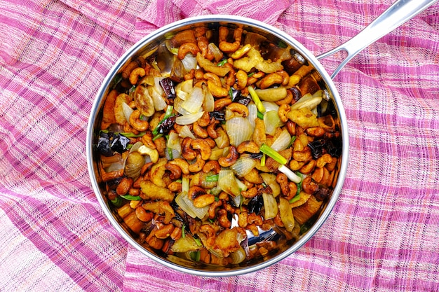 Stir fried cashew nuts and chicken with hot chili pepper