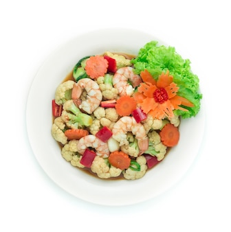Stir fried cauliflower with shrimp in oyster sauce decorate