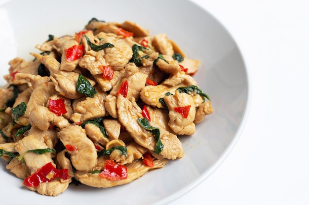 Stir-fried chicken with holy basil on white