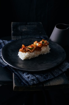 Stir fried chilli fish with rice.