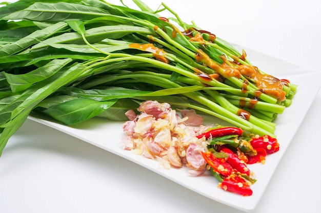 Stir-fried chinese morning glory