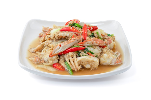 Stir-fried crab isolated on white