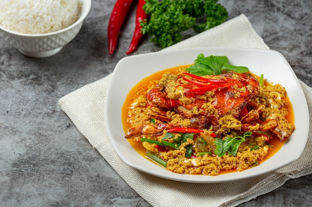 Stir fried crab with curry powder beautiful side dishes.