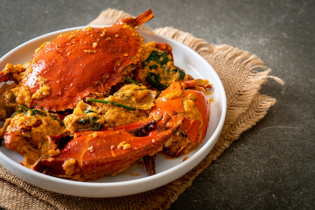 Stir fried crab with curry powder. seafood style