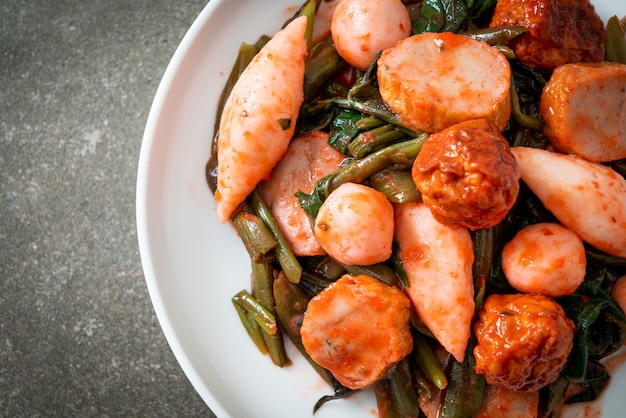 Stir fried fish balls with yentafo sauce - asian food style