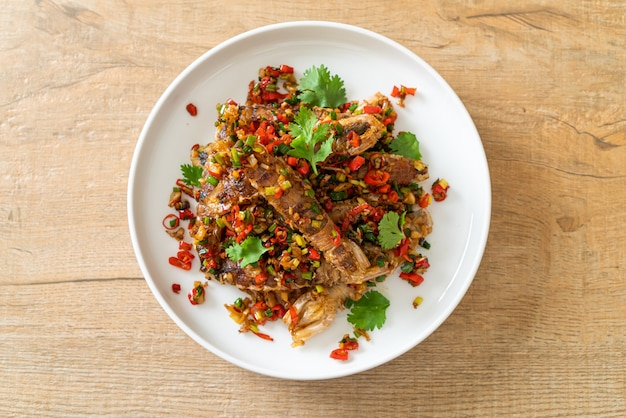 Stir-fried mantis shrimp or crayfish with chilli and salt - seafood style