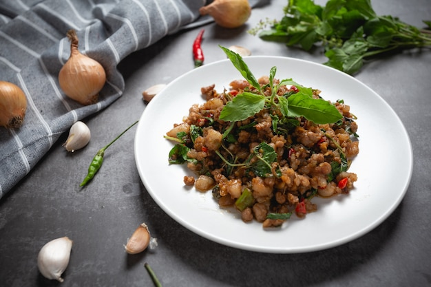 Stir-fried minced pork with basil.