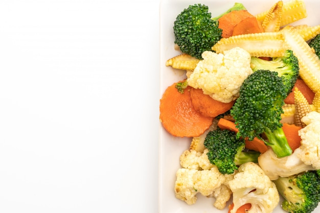 Stir-fried mix vegetable isolated