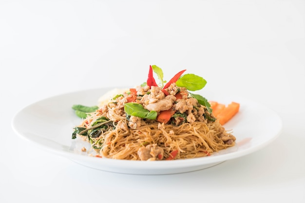 Stir-fried noodle, pork and basil