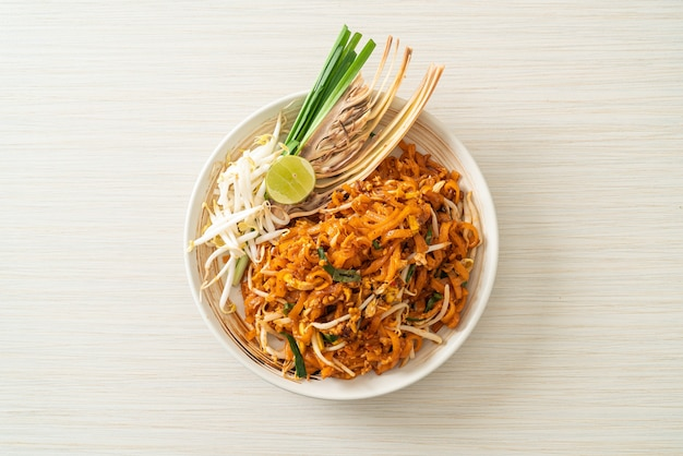 Stir-fried noodle with tofu and sprouts or pad thai - asian food style