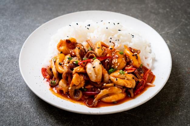 Stir-fried octopus or squid and korean spicy paste (osam bulgogi) with rice