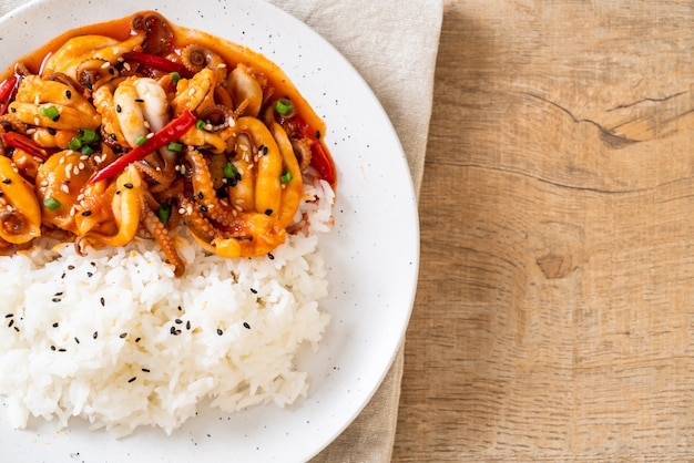 Stir-fried octopus or squid and korean spicy paste (osam bulgogi) with rice