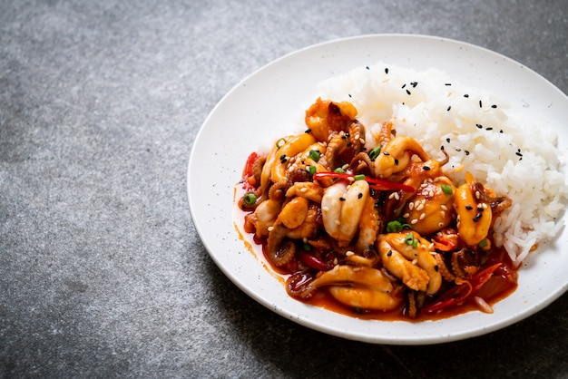 Stir-fried octopus or squid and korean spicy paste