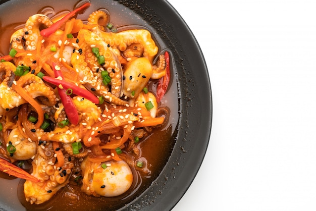 Stir-fried octopus or squid with korean spicy paste (osam bulgogi)