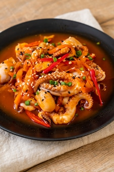 Stir-fried octopus or squid with korean spicy paste (osam bulgogi)