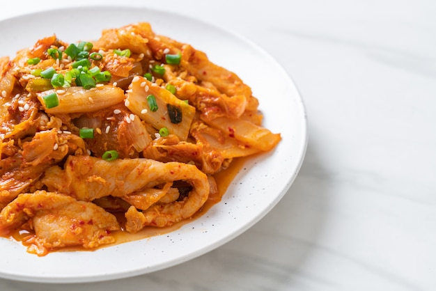 Stir-fried pork with kimchi