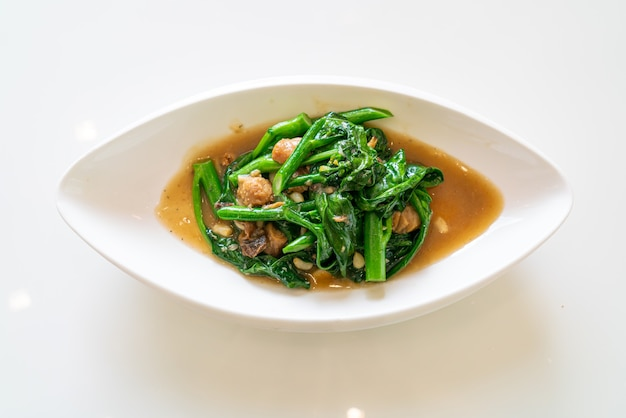 Stir-fried salted fish with chinese kale