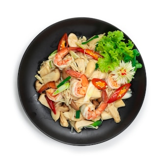 Stir fried shrimps with erynji king oyster gold needle mushrooms