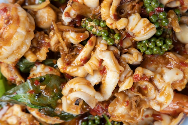 Stir fried spicy seafood or seafood pad cha