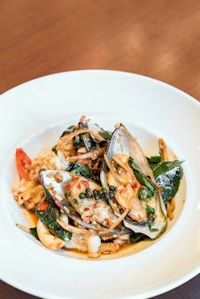 Stir fried spicy seafood