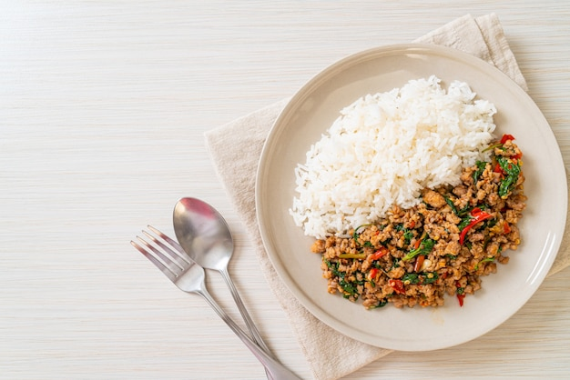 Stir fried thai basil with minced pork and chilli on topped rice - thai local food style