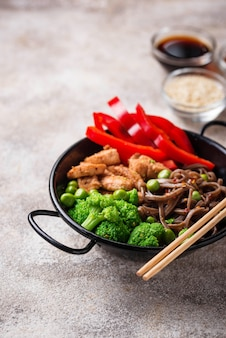 Stir fry soba with meat and vegetables