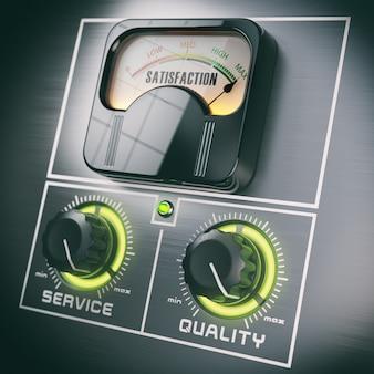 満足度制御の概念。高品質およびサーボスイッチで最大の塩分濃度。 3dイラスト