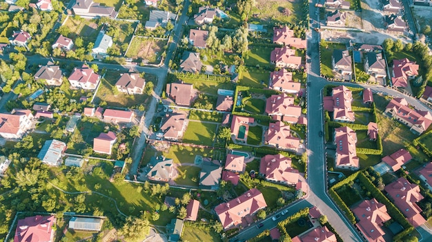 Stock aerial image of a residential neighborhood