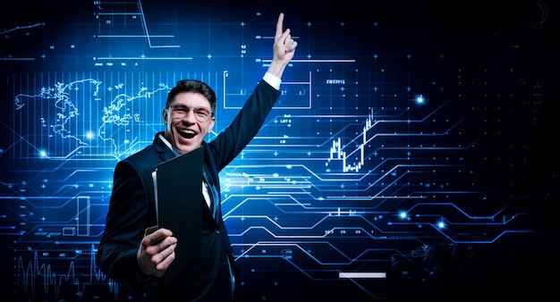 Stock broker rejoices in asset growth. the concept of brokerage and trading.