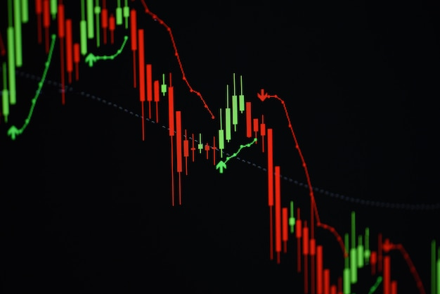 Stock crash market exchange loss trading graph analysis investment indicator business graph charts of financial digital background arrow down stock crisis red price in down trend chart