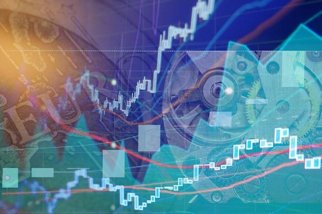 証券取引所チャートグラフ-金融ビジネスの背景。コラージュ