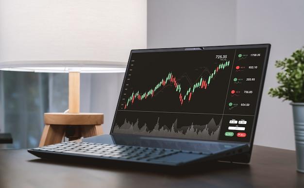 증권 거래소 시장 개념, 노트북은 테이블에 그래프 분석 촛불 라인 화면을 보여줍니다.