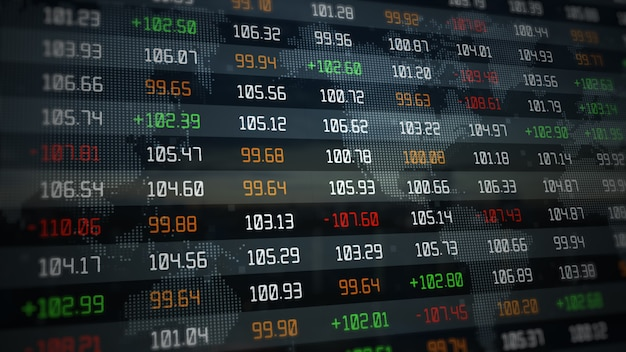 Stock exchange market and investment indexes evolving growing