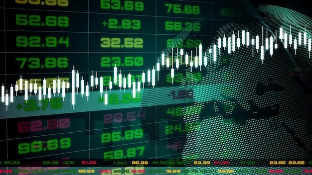 그래프 및 차트가있는 증권 거래소 시세 표시기 대시 보드