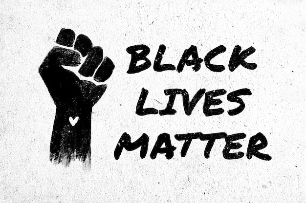 Stock illustration of a raised black fist and the phrase black lives matter on a white textured background
