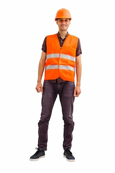 흰색 배경 위에 남성 건설 노동자의 재고 이미지