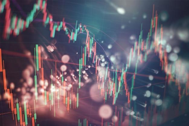 가상 공간의 주가 지수. 경제 성장, 경기 침체. 동향 및 주식 시장 변동을 보여주는 전자 가상 플랫폼