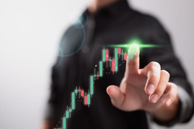 株式市場のビジネス成長の進歩または成功の概念