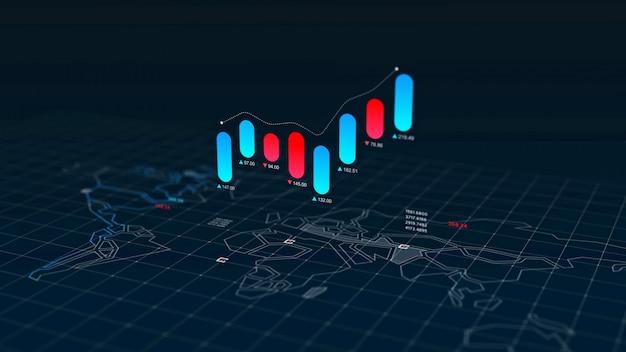 세계지도 위에 주식 시장 canclestick 차트 인덱스
